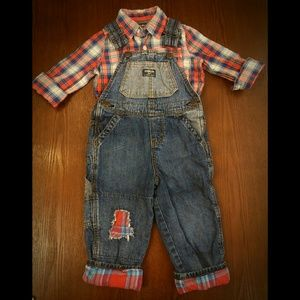 Plaid Button Up and Matching Overalls